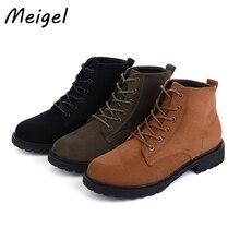 Meigel Ретро женские осенние и зимние сапоги в западном стиле ковбойские ботинки британский стиль Кружево оксфорды на шнуровке Обувь для женские ботинки для верховой езды 358