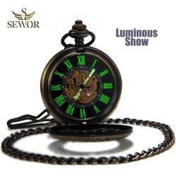 SEWOR رجل الأعلى بيع موضة خمر البرونزية شبكة غطاء الوجه ساعة جيب الرجال مضيئة حالة جوفاء الميكانيكية التلقائي ساعة C136
