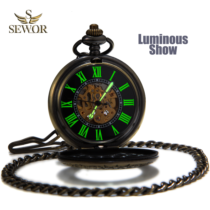 SEWOR Mens Top Sale Fashion Vintage Bronze Mesh Flip Cover Pocket Watch Men Luminous Case Hollow Mechanical Automatic Watch C136