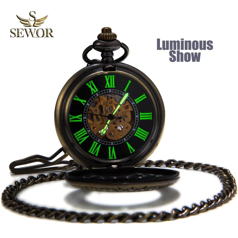 SEWOR Top Sale New Vintage Bronze Mesh Pocket Watch Cassa luminosa Automatico meccanico Auto vento C136