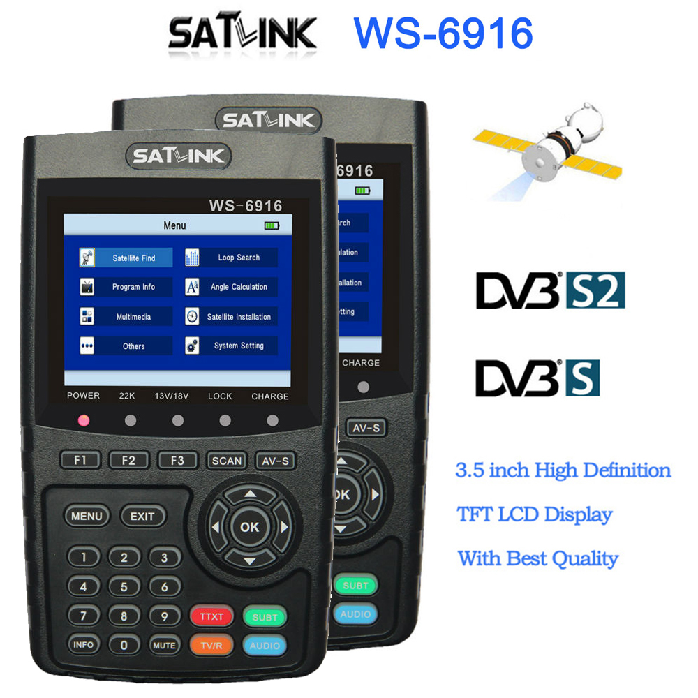 2 pc Satlink WS-6916 satellite finder HD DVB-S2 High Definition Satellite Finder MPEG-2/MPEG-4 With 3.5 LCD satlink ws 6979se satellite finder meter 4 3 inch display screen dvb s s2 dvb t2 mpeg4 hd combo ws6979 with big black bag
