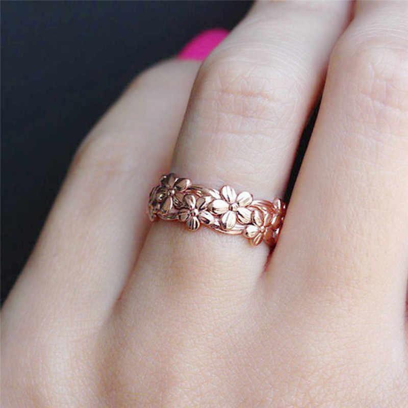 Дешевые розовое золото Цвет, с цветочным рисунком, на возраст Циркон Кольца Белый огненный опал белый CZ модные вечерние ювелирные изделия для Для женщин опал кольца женское кольцо D35