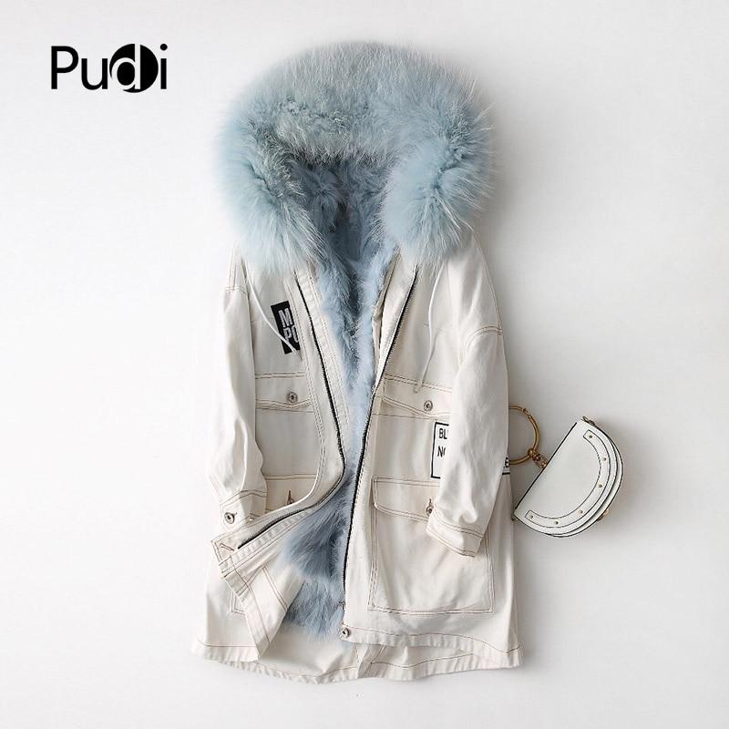 PUDI A47022 2018 femmes nouvelle mode blanc raccon fourrure Parka manteau réel raton laveur col capuche lingning dame automne hiver long manteau