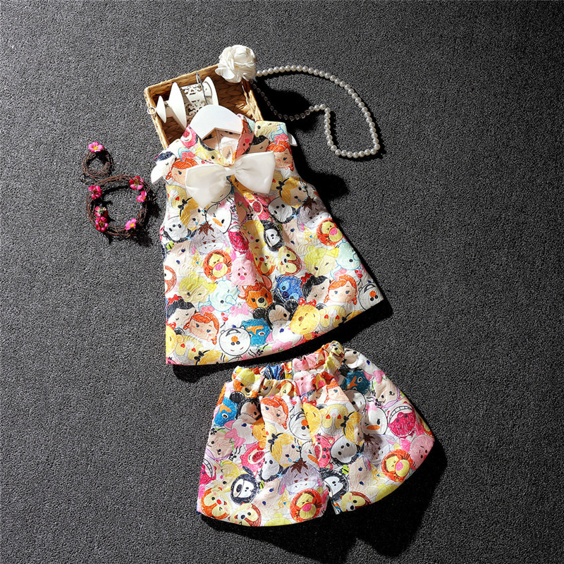 Summer Fashion Kids Print Clothes Cartoon Pattern Sleeveless Girls 2 Piece Suit Set Children Dress Clothing With Short Pants 2016 retailer summer sleeveless tshirt and pant clothing set fashion kids casual summer clothes kid dress fashion clothes