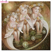 Three Angel Baby Fishing Diy 3D Diamond Embroidery Painting Full Square Drill Cross Stitch Pasted Painting
