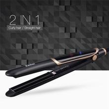 Best Buy 110-220V kemei 2 in 1 Infrared Flat Iron Hair Straightener Curler Professional Ceramic Hair Styling Tool Straightening Iron Flat