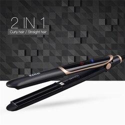Kemei 2 в 1 инфракрасный Flat Iron Выпрямитель для волос бигуди Профессиональный Керамика укладки волос Инструмент выпрямление Iron chapinha