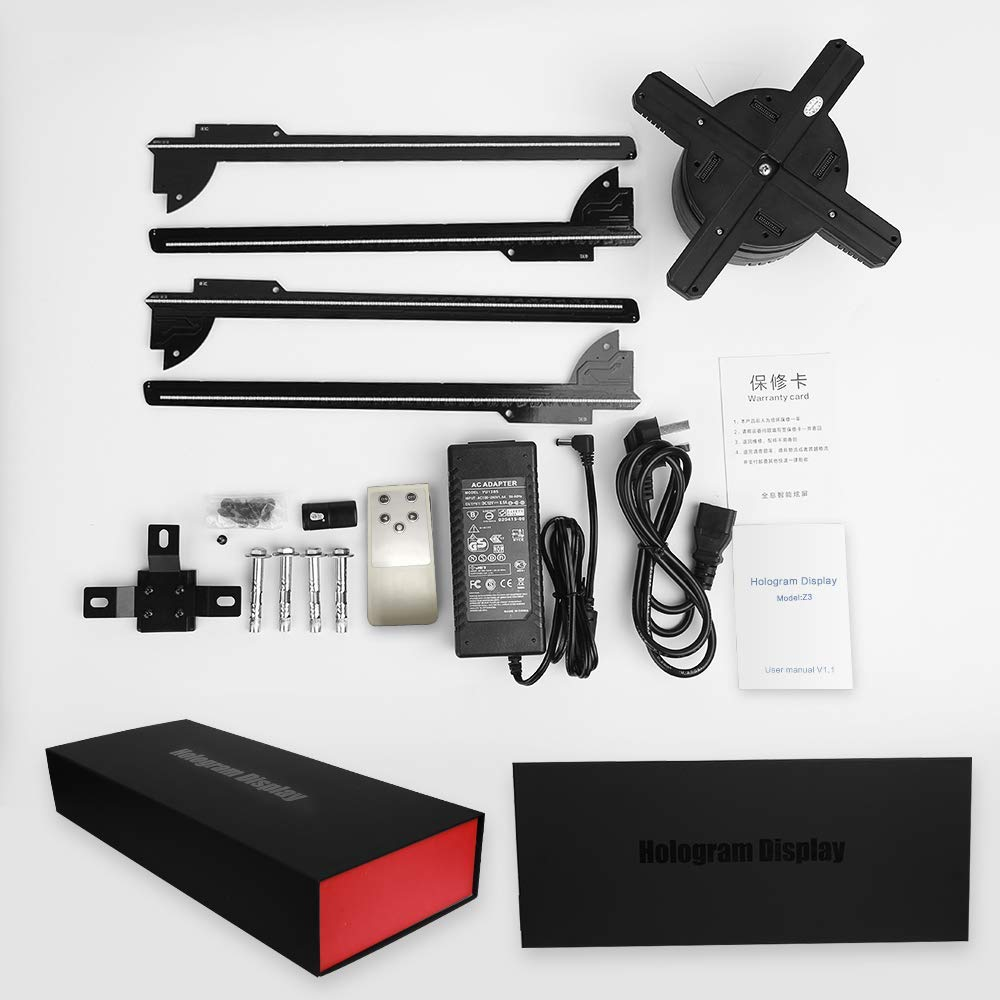 Ventilateur de projecteur d'hologramme de 65CM WIFI 3D Z3, projecteur vidéo de conception de quatre axes, lumière holographique de publicité d'affichage de LED, contrôle d'app - 6