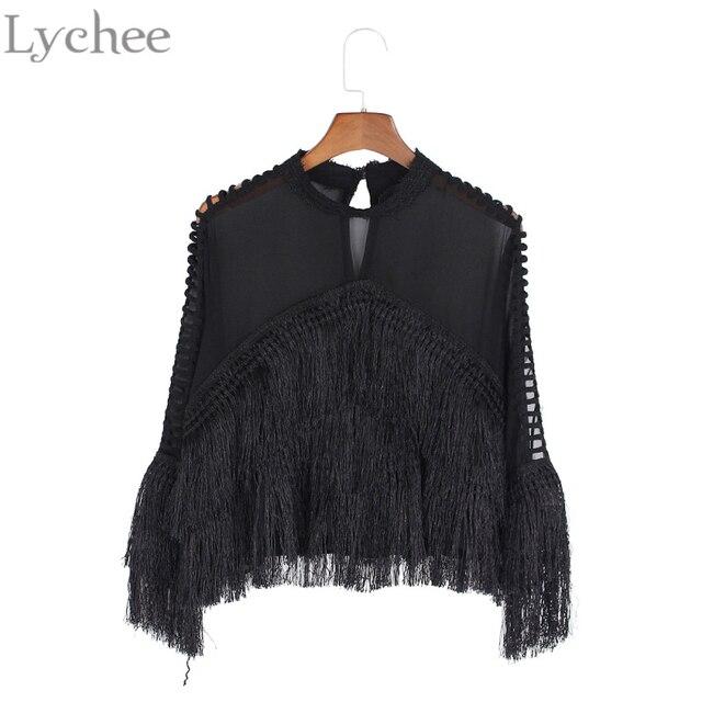 Lychee Spring Autumn Women Blouse See Through Stand Collar Tassel Patchwork Long Sleeve Shirt