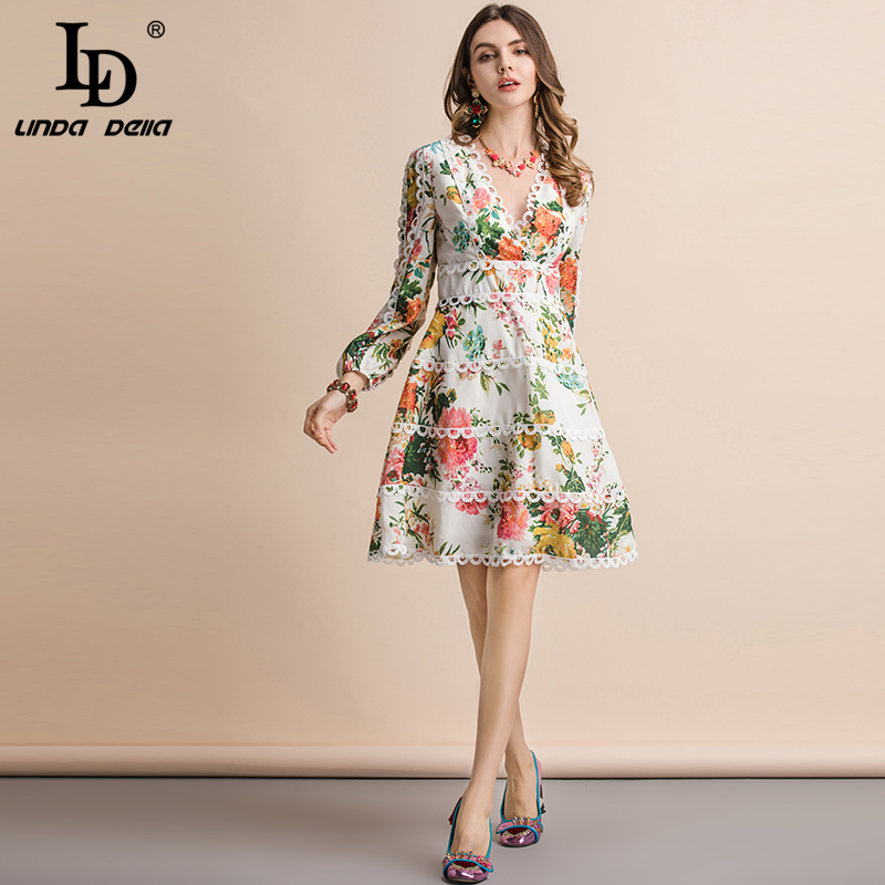 LD LINDA DELLA Autumn Fashion Runway Casual Holiday Dress Women s V Neck Elegant Floral Print