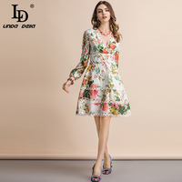 LD LINDA DELLA New 2019 Fashion Runway Summer Casual Dress Women's Sexy V Neck Lantern Sleeve Floral Print Slim Ruched Dresses