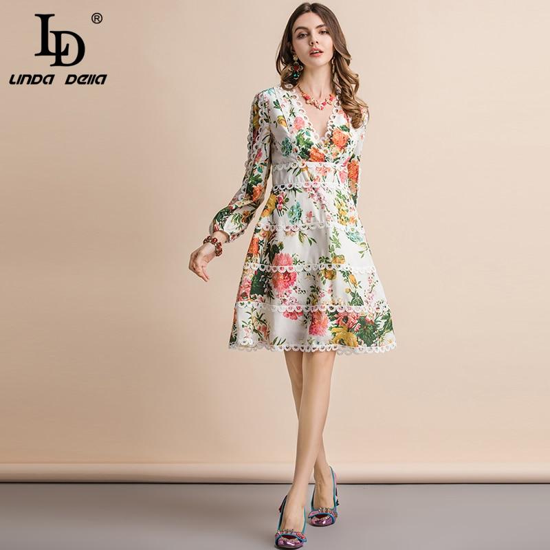LD LINDA DELLA Autumn Fashion Runway Casual Holiday Dress Women's V Neck Elegant Floral Print Ruched A Line Long Sleeve Dress