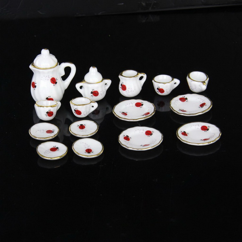 15Pcs 1/12 Doll House Miniature Dining Ware Porcelain Tea Set Dish Cup Plate Ladybug Print Free Shipping