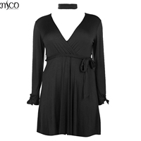 MCO Sexy Plunge V Neck Plus Size Chocker Shift Dress Tie Waist Classic Black Swing Dresses Oversize Basic Women Clothing 6XL 7XL