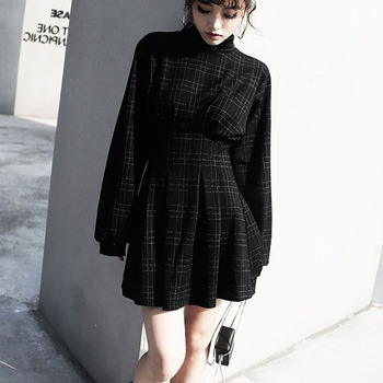 2019 Spring Women Vintage Mini Dress Long Sleeve Plaid A-lined Punk Style Gothic Dresses for Goth Girls Female Retro High Waist 1