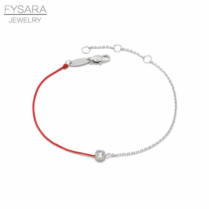 FYSARA Simple Jewelry 3Color Thin Red Rope And Chain Bracelets With CZ Crystal Hread String Rope Bracelet Bangles For Women Gift