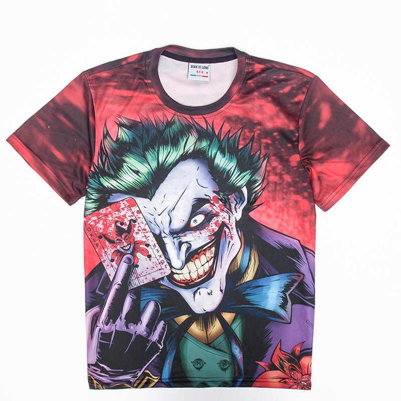 2018 брендовая одежда новая модная мужская/wo Мужская футболка 3d мультфильм Джокер с покерным цифровым принтом футболки летние топы Футболка M-5XL