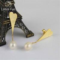 Lotus Fun Real 925 Sterling Silver Natural Pearl Creative Handmade Fine Jewelry Love Heart Water Drop Dangle Earrings for Women