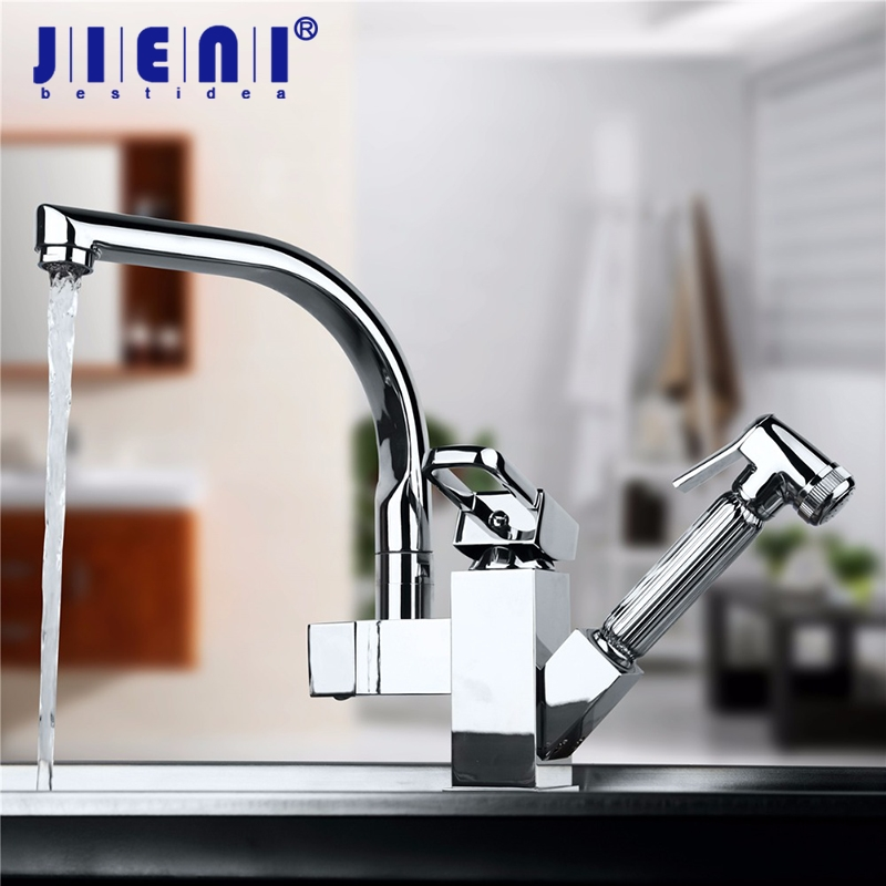 NEW Brass Kitchen Faucet Sink Mixer Tap With Pull Out Spray Swivel Spout Chrome Kitchen Faucet new kitchen faucet with pull out spray gun 360 degree rotation solid brass chrome finish vessel sink basin tap mixer torneira