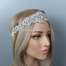 Дизайн кристалл аппликация Стразы Свадебный головной убор костюм вечерние повязки на голову ручной работы