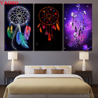 DIY Diamond Painting 3 Pieces Dream catcher feather 3D Square round Full Diamond Embroidery Kit Diamond Mosaic Picture pastes