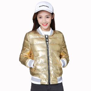 New Autumn Silver Bright Jacket Coat Women Winter Warm Down Cotton Padded Short Parkas Bread Style Fashion Girl Bomber Outwear