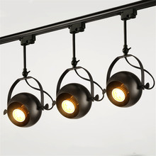 Thrisdar Loft Iron Industrial COB LED Track Spotlight 5W 10W 15W Cafe clothing Store  background wall Rail Track LED Spotlight track lamp led spotlight clothing store led spotlight bright wall ceiling lamp retro restaurant spotlight industrial guide lamps