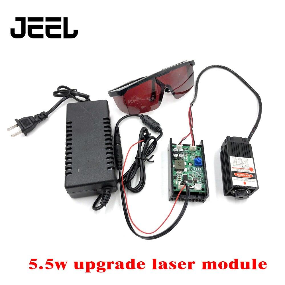 5.5w haute puissance 450NM avec mise au point Laser bleu Module Laser gravure avec Module TTL 5500mw Tube Laser + Brille