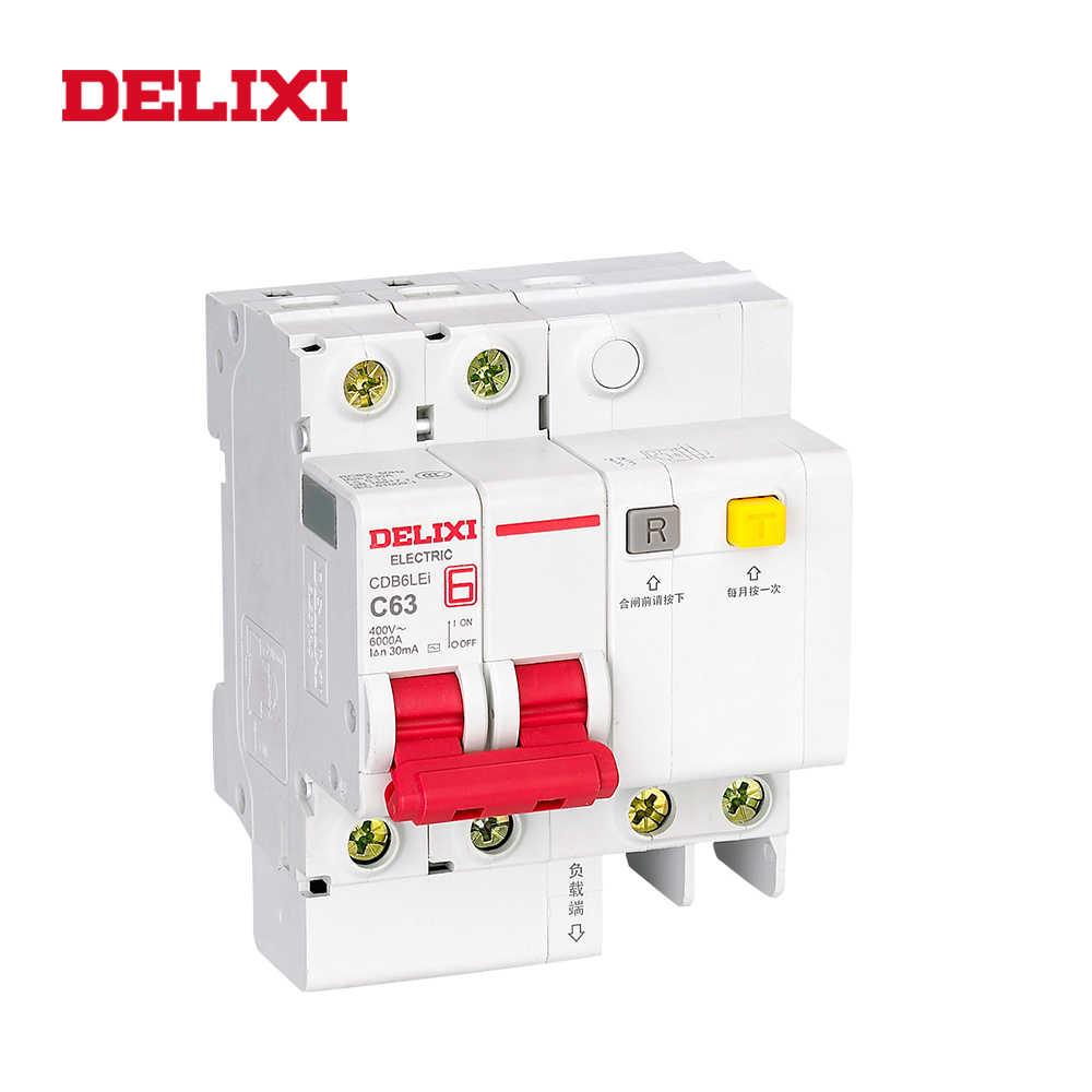 DELIXI CDB6iLE 2P corriente Residual 400V 10A 16A 20A 25A 32A 63A C curva disyuntor sobrecarga corta protección de fuga disyuntores RCBO