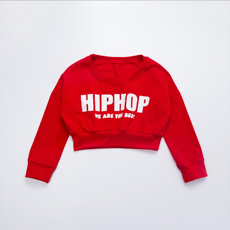 Girls Red Loose Long Sleeve Ballroom Jazz Hip Hop Dance Costume Cropped Tops Shirt for Kid Modern Dancing Clothing Clothes Wear
