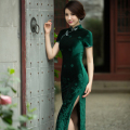 Qipao Traditional Chinese Dress Women's Velour Long Cheongsam sexy Evening Dress 3 color size S M L XL XXL XXXL C9150