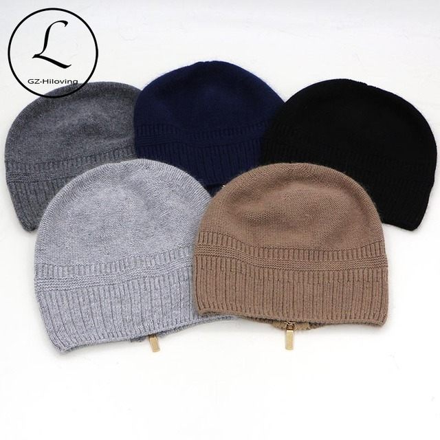 Adjusted Skullies Beanies Warm Winter Knitted Hats With Zipper Striped Hat Fur Lady  Hedging Cap Natural Fur Vrouwen Muts 6906