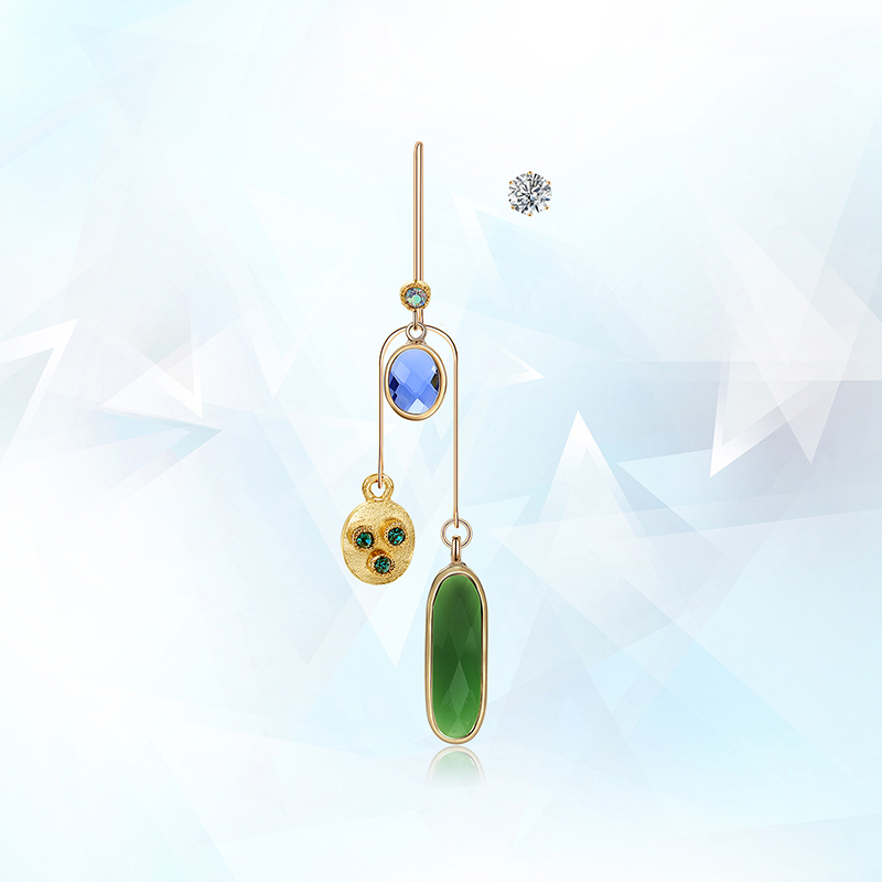 New design irregular crystal pendant zircon woman punk long earrings stainless steel jewellry 2018 Christmas Gifts