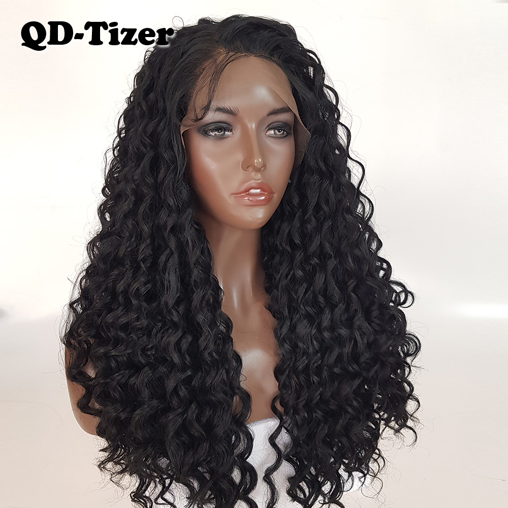 QD Tizer Black Color Kinky Curly Lace Front Wigs Glueless with Baby Hair Long Synthetic Lace