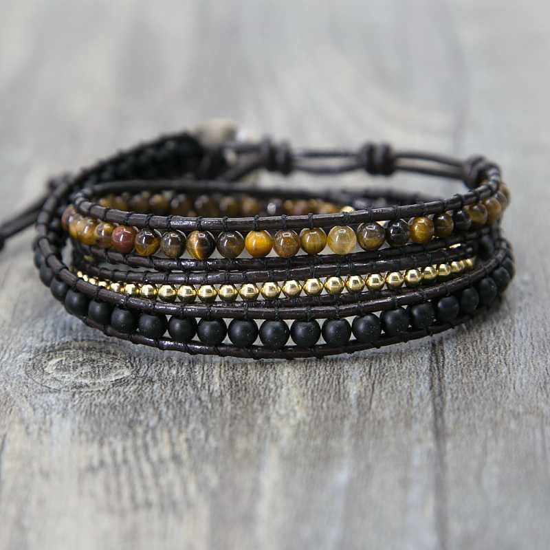 Unique Mixed Triple Simple Leather Beaded Bracelet,Tiger Eye,Copper,Black Beaded Beaded Bracelet Friendship Bracelets Jewelry