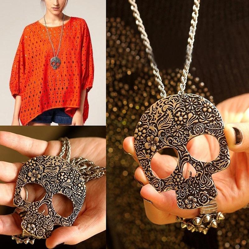 Hot Fashion Women Bronze Vintage Punk Rock Gothic Flower Skeleton Skull Pendant Long Chain Necklace