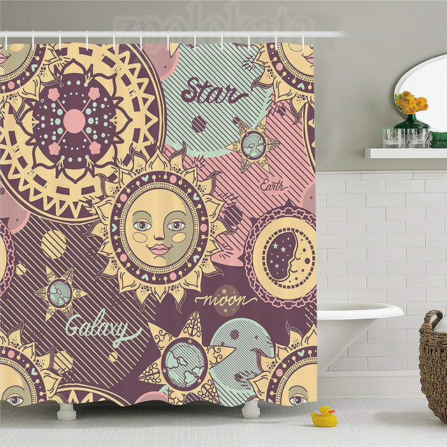 Sun And Moon Shower Curtain Fantasy Cartoon Style Space Fictional