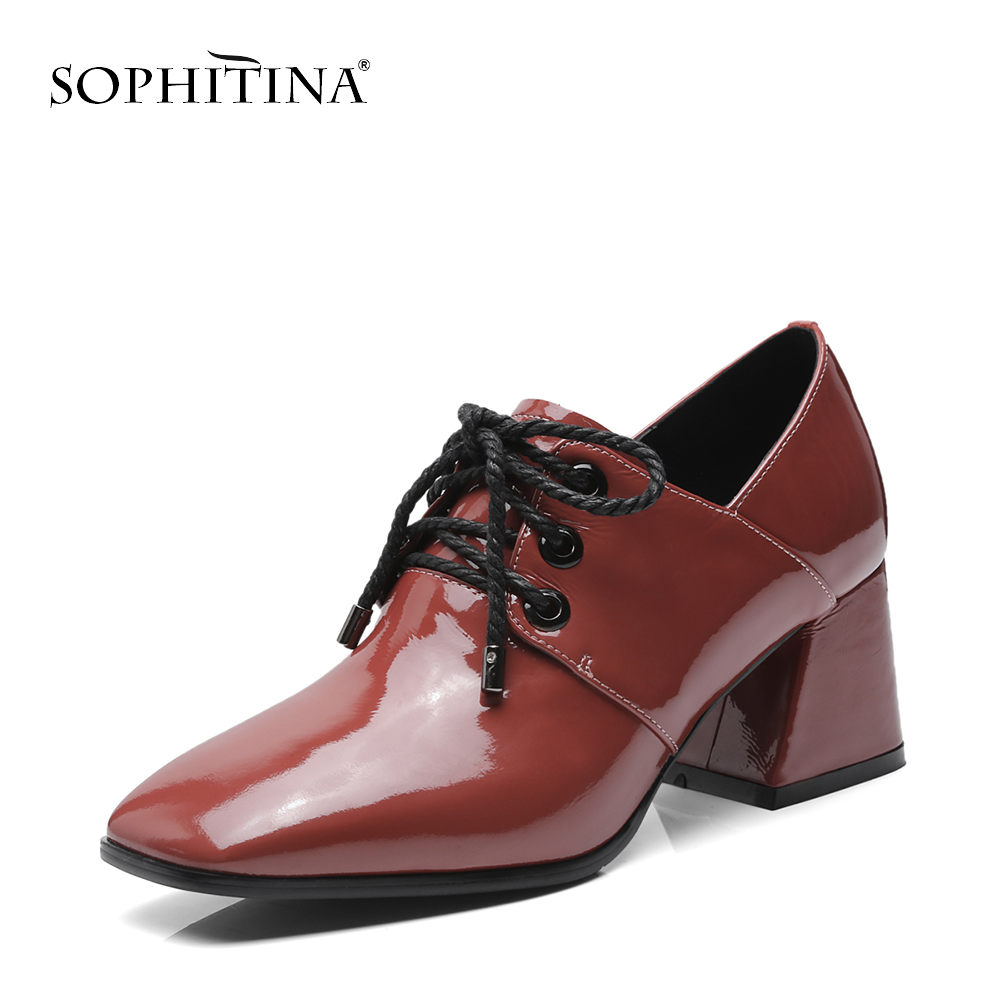 SOPHITINA New Career Women Pumps High Quality Genuine Leather High Heels Lady Shoes Classics Fashion Cross