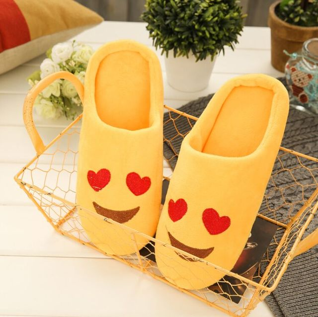 Cute Emoji Smiley Face Home Slippers Soft Bottom Indoor Shoes Wood Floor Half Pack Cozy Soft Stuffed House Shoes Cotton Pantufas