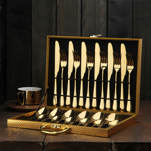 24pcs KuBac Hommi Luxury Golden Stainless Steel Steak Knife Fork Set Gold Cutlery Set With Luxury Wood Gift Box Drop Shipping