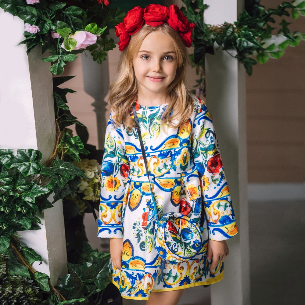 Princess Girls Dress Long Sleeve 2018 Autumn Brand Children Christmas Dress with Bag Printed Kids Dresses for Girls Clothing vintage geometric printed long sleeve bodycon dress for women