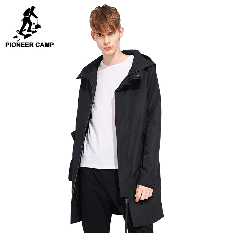 Pioneer camp long trench coat men brand clothing casual hooded mens overcoat quality windbreaker male coat black green AFY803121|long trench coat men|trench coat men|trench coat - title=