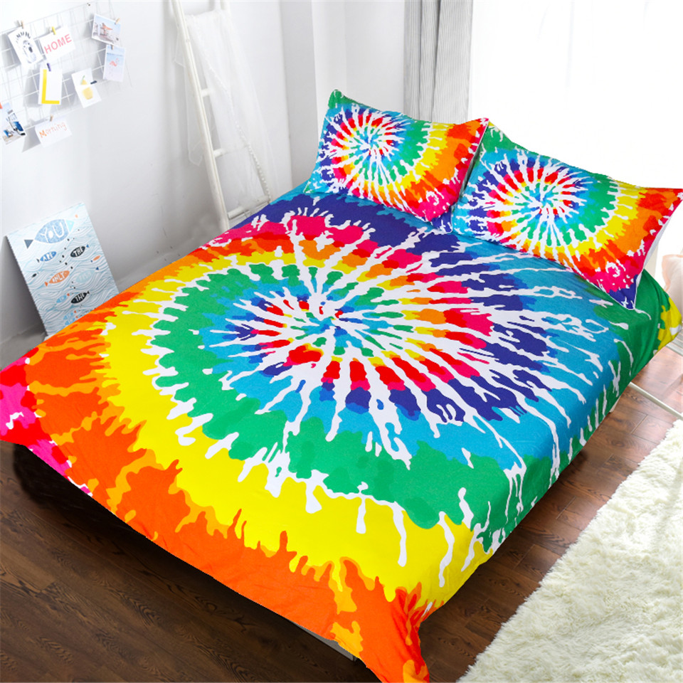 Blessliving Rainbow Tie Dye Bedding Set Colorful Duvet Cover Queen Psychedelic Watercolor Artsy Bedclothes 3 Piece Art BedspreadBlessliving Rainbow Tie Dye Bedding Set Colorful Duvet Cover Queen Psychedelic Watercolor Artsy Bedclothes 3 Piece Art Bedspread