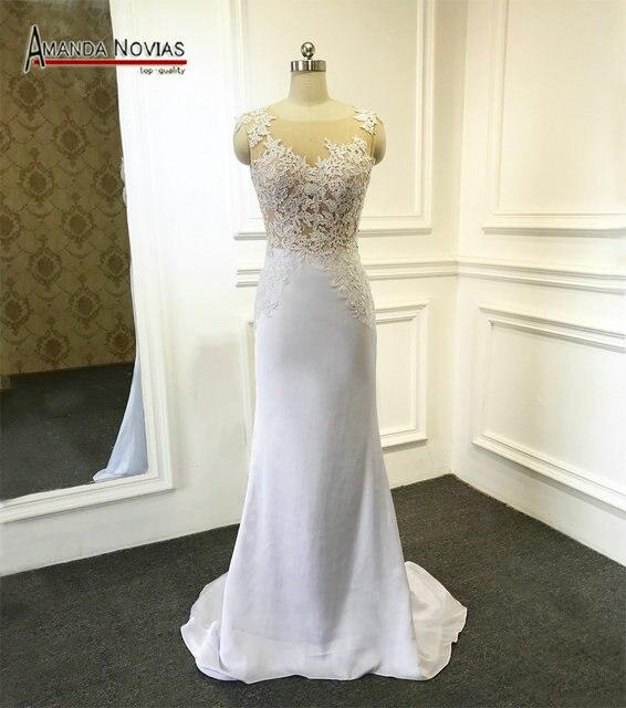 2017 Nuevo estilo vaina Encaje Amanda vestido de boda noivas real ...