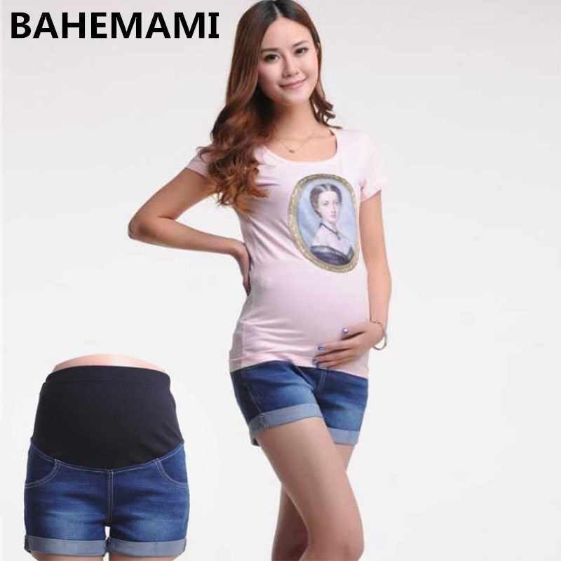 diseño de calidad 3e20d 24420 BAHEMAMI de Denim corto verano Pantalones vaqueros para mujeres embarazadas  Gravidas ropa embarazada pantalones elástico Abdominal Vaqueros