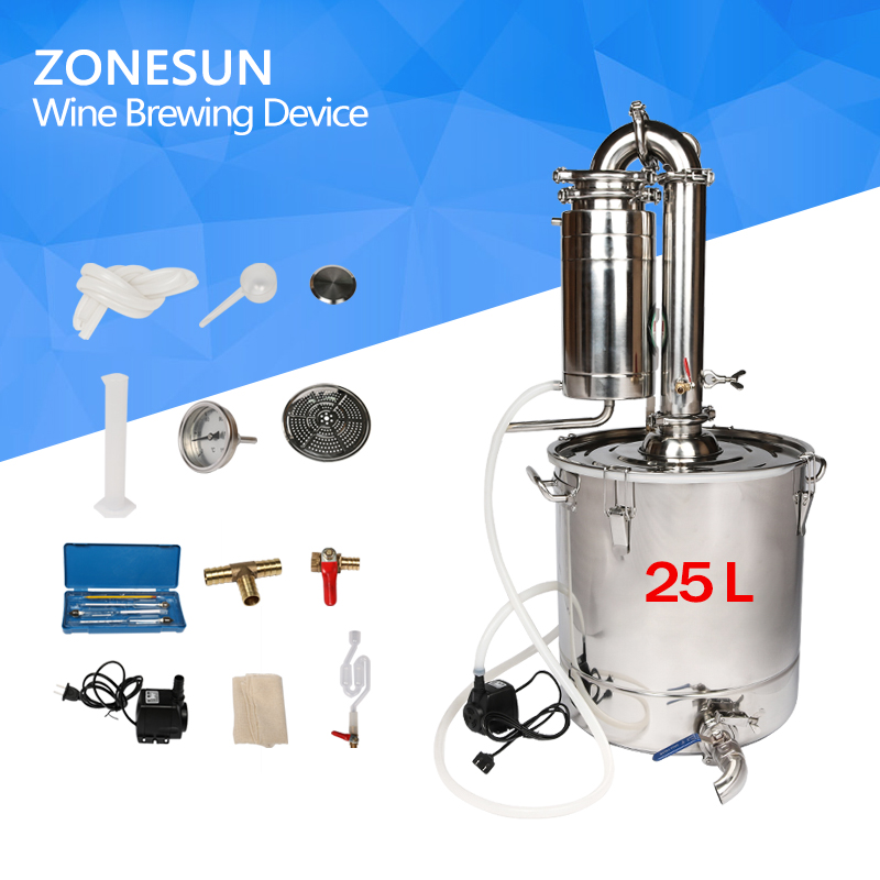 ZONESUN Houshold Stainless Steel Home Wine Brewing Device 65L Alcohol Distiller/Wine Maker English Manual+11 Gifts