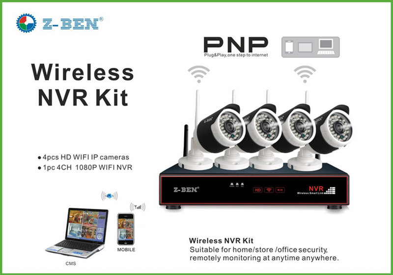 buy z ben zb wk204 1 0 mp 2 4g 4ch wireless surveillance kit 4 wifi ip 720p. Black Bedroom Furniture Sets. Home Design Ideas