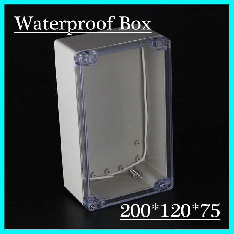 (1 piece/lot) 200*120*75mm Clear ABS Plastic IP65 Waterproof Enclosure PVC Junction Box Electronic Project Instrument Case waterproof abs plastic electronic box white case 6 size