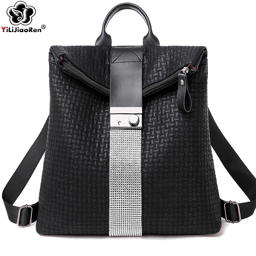 Fashion Anti Theft Sequin Backpack High Quality Leather Backpack Purse Large Capacity School Bag Simple Shoulder Bags For Women