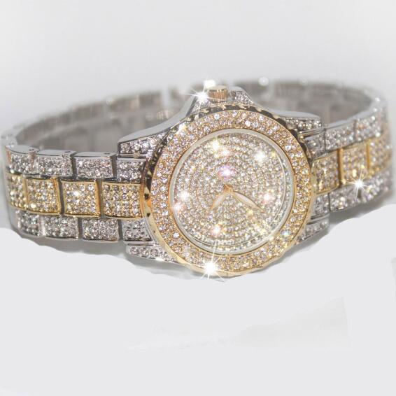 Prix pour Célèbre Marque Bling Rose D'or Montre En Cristal Élégant Femmes Montre De Luxe Scintillant Cristal Or Shinning Diomand Strass Bracelet